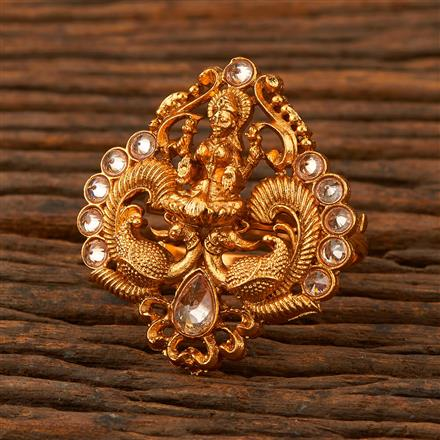 205277 Antique Temple Ring With Matte Gold Plating