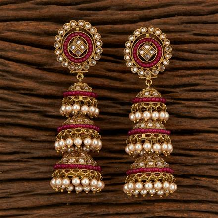 205278 Antique Jhumkis With Mehndi Plating