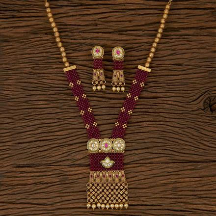 205332 Antique Mala Pendant Set With Gold Plating