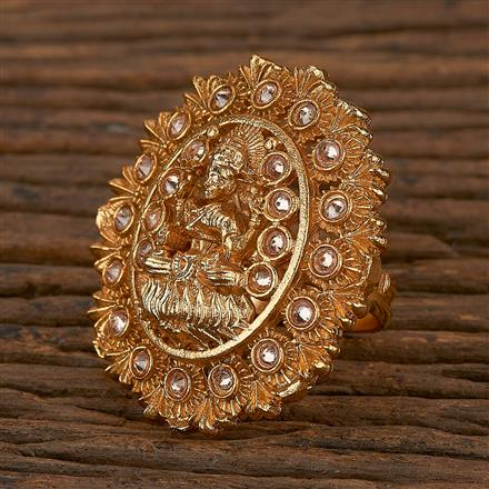 205342 Antique Temple Ring With Matte Gold Plating