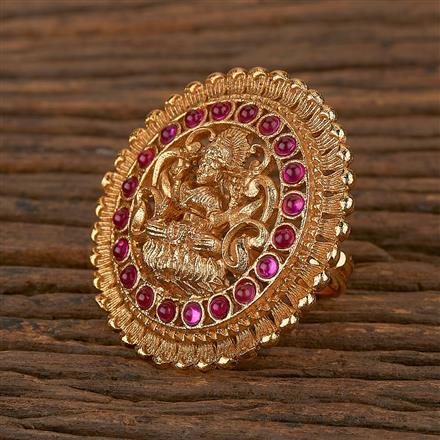 205343 Antique Temple Ring With Matte Gold Plating