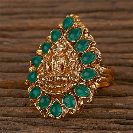 205345 Antique Temple Ring With Matte Gold Plating