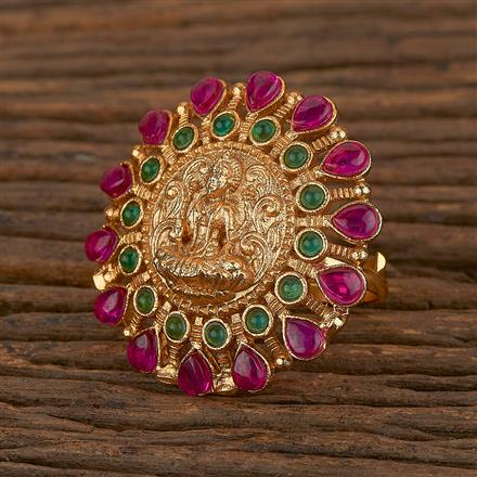 205346 Antique Temple Ring With Matte Gold Plating