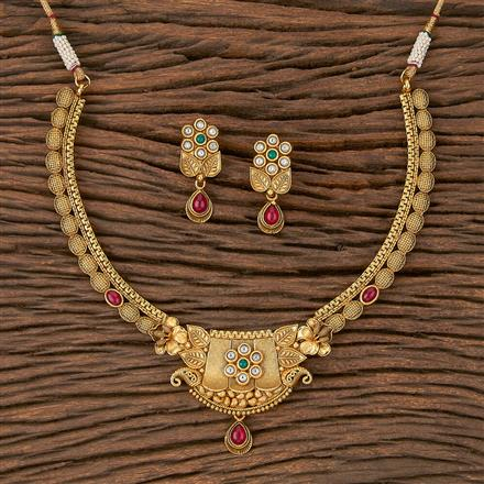 205370 Antique Classic Necklace With Matte Gold Plating