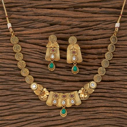 205372 Antique Delicate Necklace With Matte Gold Plating