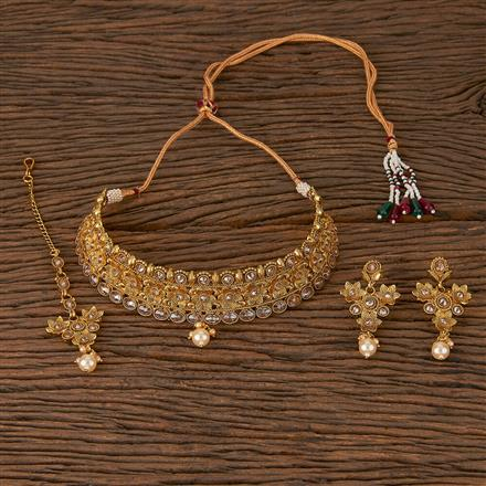 205402 Antique Choker Necklace With Gold Plating