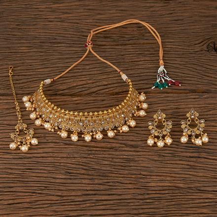 205403 Antique Mukut Necklace With Gold Plating