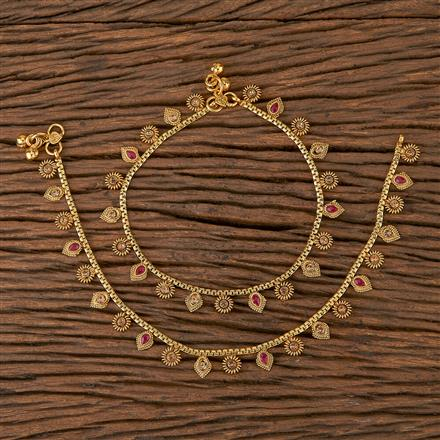 205423 Antique Delicate Payal With Gold Plating