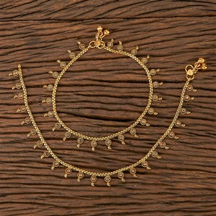 205424 Antique Delicate Payal With Gold Plating