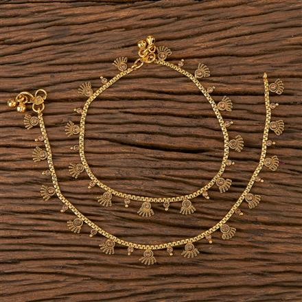 205426 Antique Delicate Payal With Gold Plating