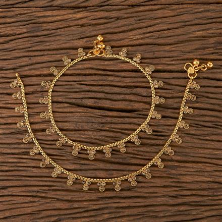 205427 Antique Delicate Payal With Gold Plating