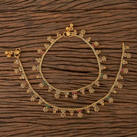 205428 Antique Delicate Payal With Gold Plating