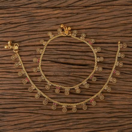 205429 Antique Delicate Payal With Gold Plating