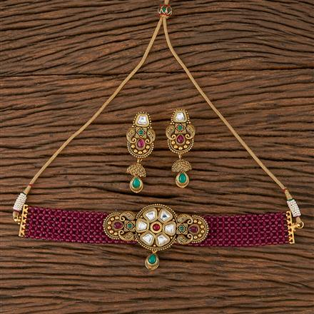 205434 Antique Choker Necklace With Matte Gold Plating