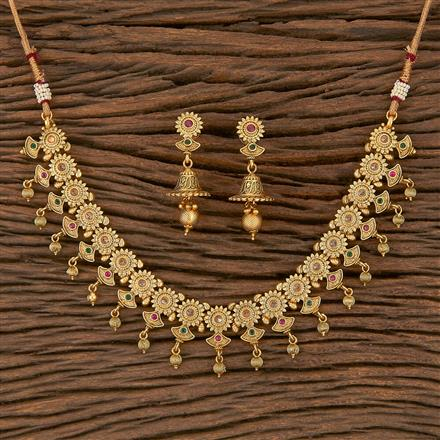 205508 Antique Delicate Necklace With Matte Gold Plating