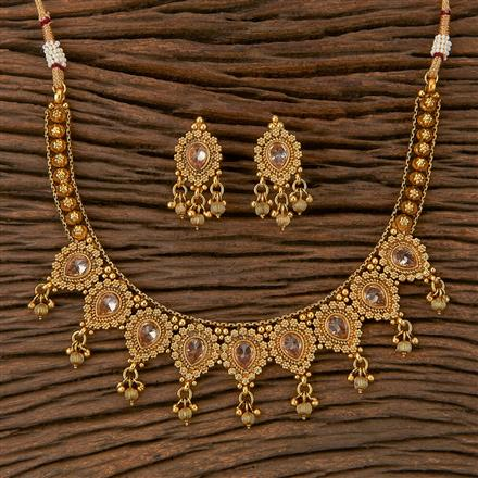205510 Antique Classic Necklace With Matte Gold Plating