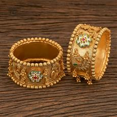 205523 Antique Peacock Bangles With Matte Gold Plating