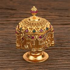 205544 Antique Classic Sindoor Box With Gold Plating