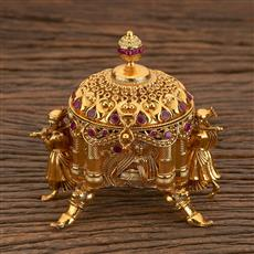 205545 Antique Classic Sindoor Box With Gold Plating