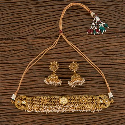 205551 Antique Choker Necklace With Gold Plating