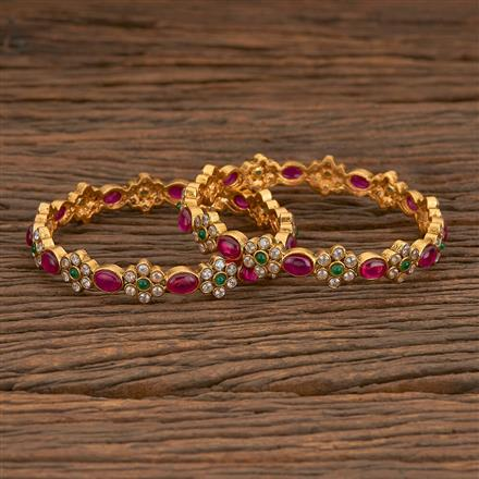 205561 Antique South Indian Bangles With Matte Gold Plating