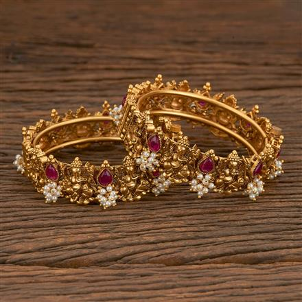 205569 Antique Temple Bangles With Matte Gold Plating