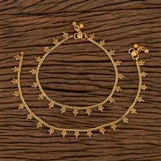 205597 Antique Plain Payal With Gold Plating
