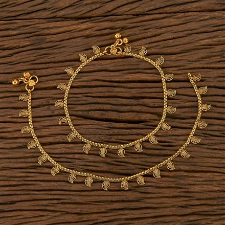 205599 Antique Plain Payal With Gold Plating