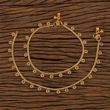 205600 Antique Plain Payal With Gold Plating