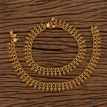 205611 Antique Plain Payal With Gold Plating