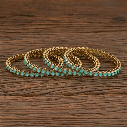 205615 Antique Delicate Bangles With Mehndi Plating
