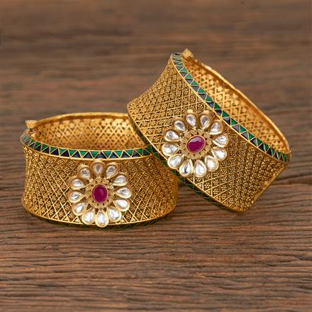 205623 Antique Openable Bangles With Matte Gold Plating