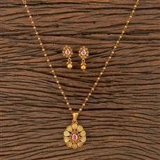 205690 Antique Delicate Pendant Set With Matte Gold Plating