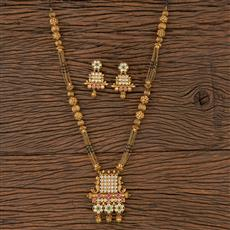 205748 Antique Classic Mangalsutra With Matte Gold Plating