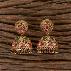 205811 Antique Jhumkis With Gold Plating