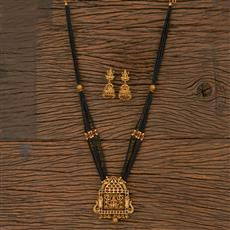 205880 Antique Temple Mangalsutra With Matte Gold Plating