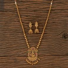 205887 Antique Temple Pendant Set With Matte Gold Plating