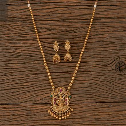 205887 Antique Temple Pendant Set With Matte Gold Plating