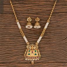 205914 Antique South Indian Pendant Set With Matte Gold Plating