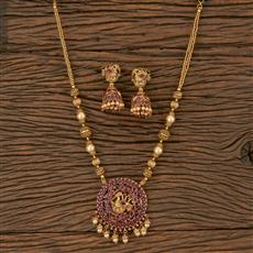 205915 Antique Peacock Pendant Set With Matte Gold Plating
