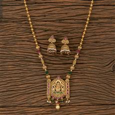 205916 Antique Temple Pendant Set With Matte Gold Plating