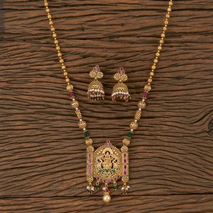 205916 Antique Temple Pendant Set With Matte Gold Plating