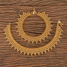 206018 Antique Plain Payal With Gold Plating