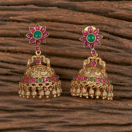 206025 Antique Peacock Earring With Matte Gold Plating