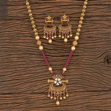 206031 Antique Mala Pendant Set With Matte Gold Plating