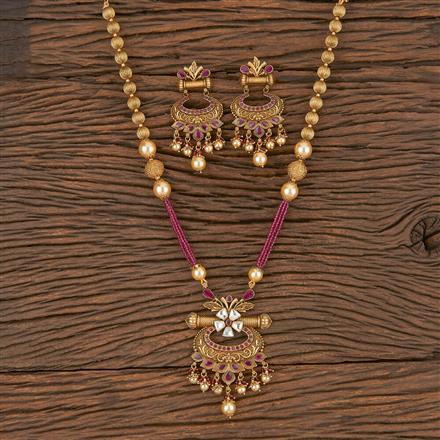 206031 Antique Mala Pendant Set With Matte Gold Plating