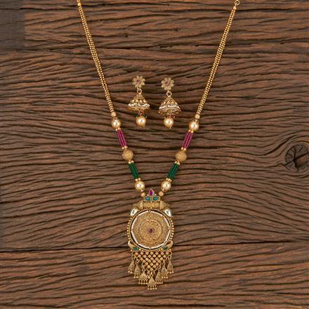 206032 Antique Mala Pendant Set With Gold Plating