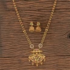 206052 Antique Peacock Pendant Set With Matte Gold Plating