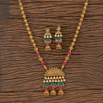 206058 Antique Mala Pendant Set With Matte Gold Plating