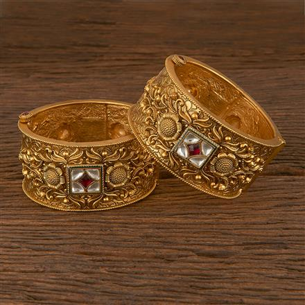 206184 Antique Openable Bangles With Matte Gold Plating
